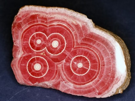 Cross section of rhodochrosite stalactite